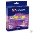 VERBATIM DVD+R 2.4- 6X 8.5GB Dual Layer,BRANDED 10 Pack