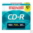 Maxell CD-R 700MB 48x Recordable Disc with Slim Jewel Case - 10PK.