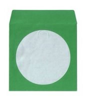 100 CD/DVD Paper Sleeves with Window & Flap - Green