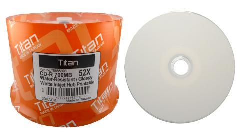 Titan Water Resistant Glossy White Inkjet Metalized Hub Printable 52X CD-R Media 700MB - 50 Pk. - Click Image to Close